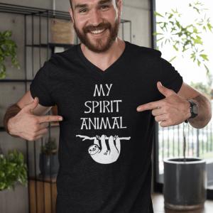 Mens Sloth is my Spirit Animal V-Neck T-Shirt